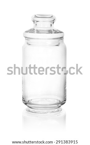 Glass jar isolated on white background