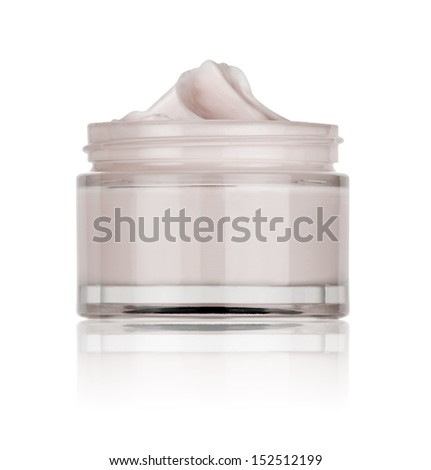 glass jar of beauty cream, isolated   - stock photo