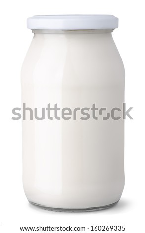 Glass jar of milk cream isolated on white - stock photo