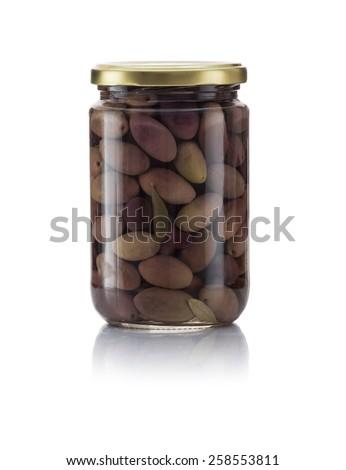 Glass Jar of Pickled Kalamata Isolated on White Background - stock photo