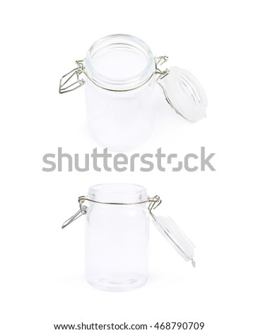 Glass jar with a lid isolated over the white background, set of two different foreshortenings