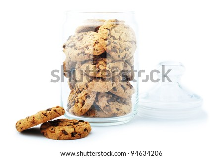 Glass jar with cookie - stock photo