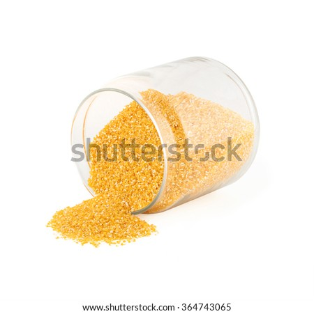 glass jar with maize grits  - stock photo