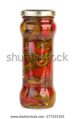 Glass jar with marinated red cherry pepper slices isolated on white - stock photo