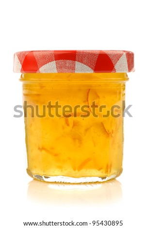 glass jar with marmalade with room for your label, texr or images on a white background - stock photo