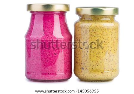 Glass jar with mustard and horseradish red sauce on the white background - stock photo