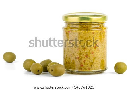 Glass jar with olive spread isolated on the white background - stock photo