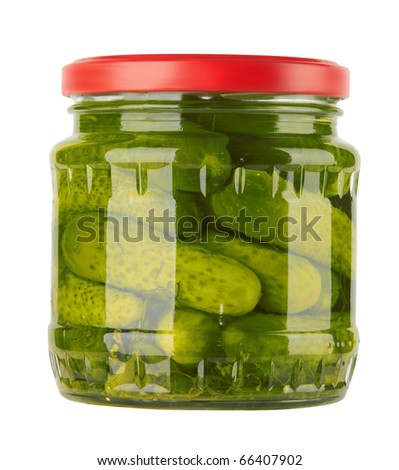 Glass jar with pickled cucumbers isolated on white background - stock photo