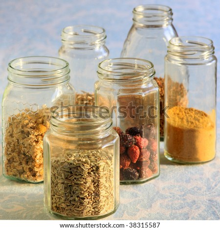 glass jar with spices