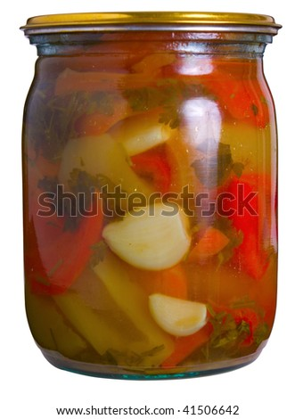 Glass jar with tinned vegetables isolated on white