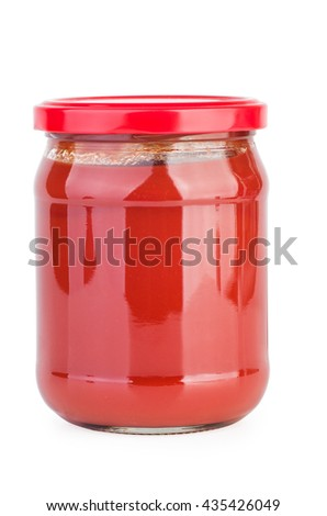 Glass jar with tomato paste isolated on white background - stock photo
