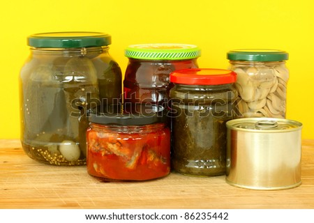 glass jars with tinned products