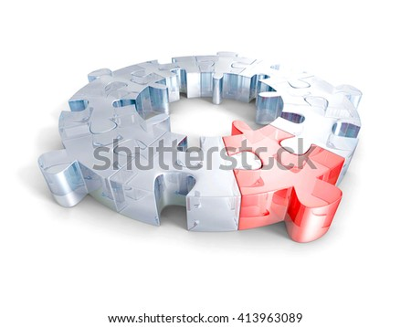 glass jigsaw puzzles with one red piece. different individuality concept. 3d render illustration - stock photo
