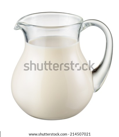 Glass jug of fresh milk isolated on white. With clipping path - stock photo