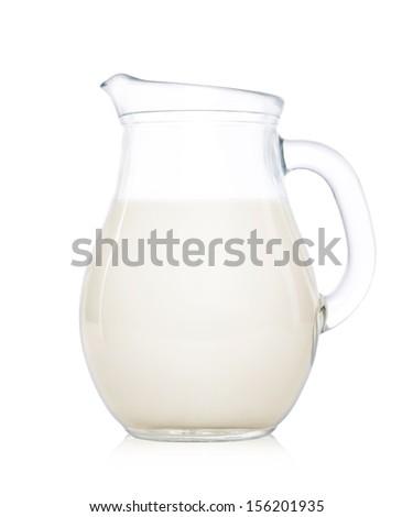 Glass jug of  milk isolated on white background. - stock photo