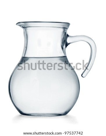 Glass jug of water isolated on white background - stock photo