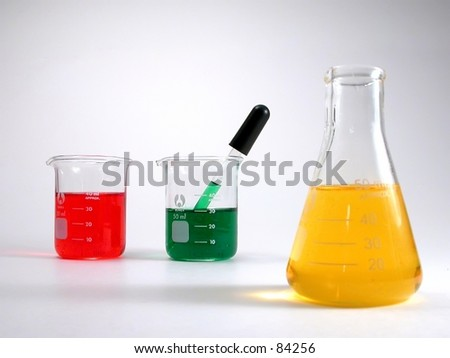 Glass lab containers filled with various liquids
