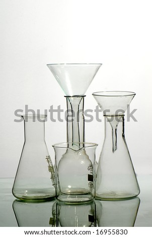 Glass laboratory equipment for science research - stock photo