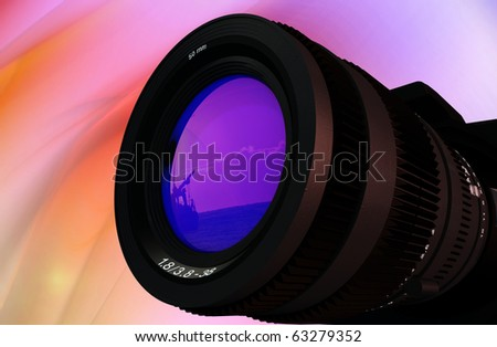 Glass Lens on a colorful background