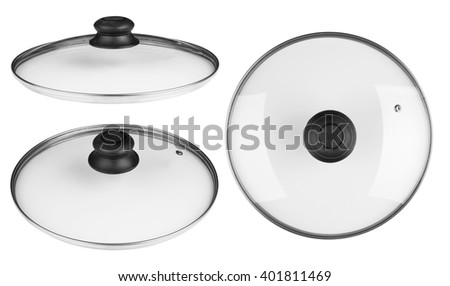 Glass lid from a pan isolated on white background - stock photo