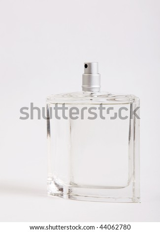 Glass lotion bottle on white background. One object