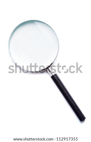 Glass magnifier closeup on white background, isolated - stock photo