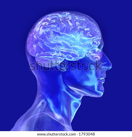 Glass Male Head with Brain - 3D render - stock photo