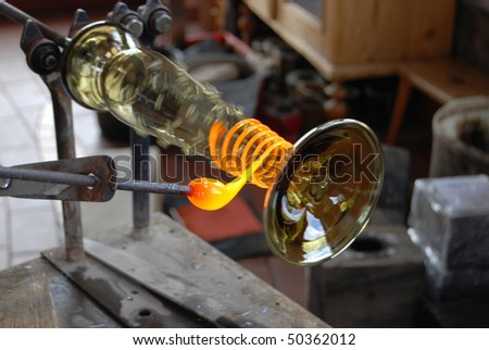 Glass manufacture, production of replica of mediaeval glass. Czech Republic, Svojkov - stock photo