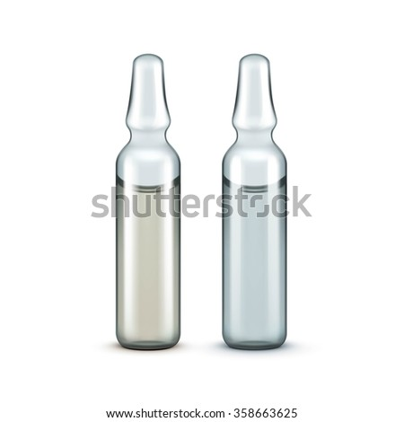 Glass Medical Ampoules Bottles Isolated on White Background