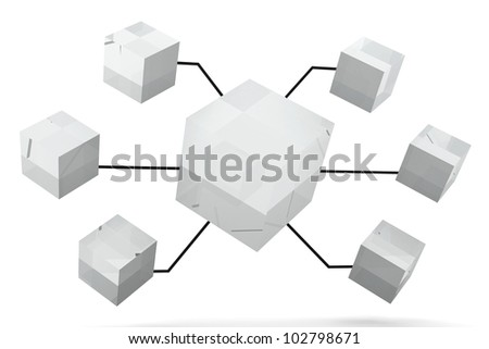 Glass Mirror Organization Box Expand 3D render - stock photo