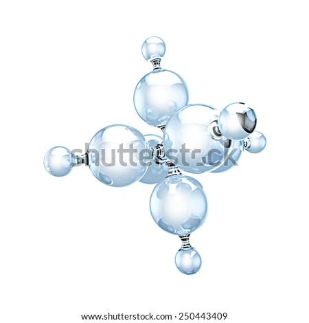 Glass molecule on white - stock photo