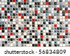 glass mosaic - pattern - white, grey and red colours - stock photo