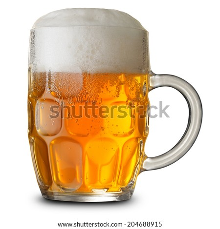 Glass mug with beer isolated. Clipping Path - stock photo