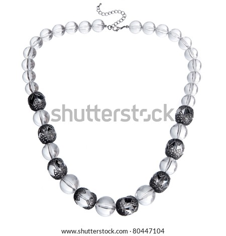 glass necklace isolated on white - stock photo