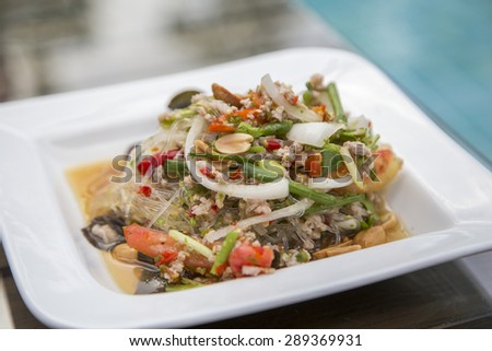 Glass noodle in spicy salad with minced pork, chillies and vegetables - stock photo