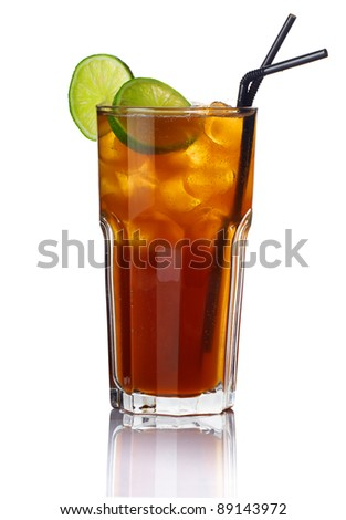 Glass of alcohol cocktail with lime isolated on white background - stock photo
