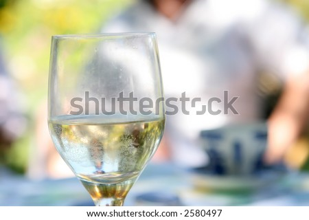 glass of alcohol outdoors in the summer garden - stock photo