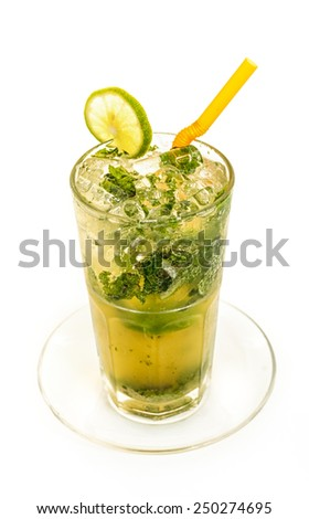 Glass of alcoholic cocktail isolated on white - stock photo