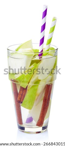 Glass of apple and cinnamon detox water isolated on white background - stock photo