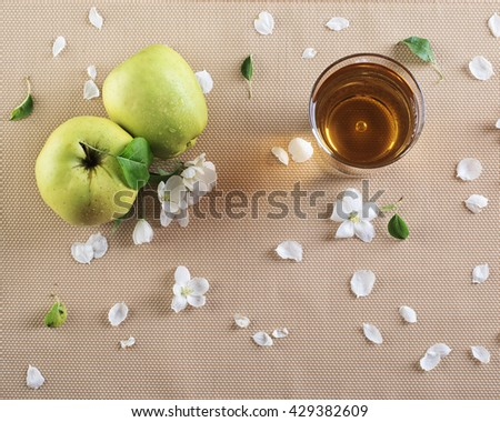 glass of apple juice and fresh apples on the wooden table  - stock photo