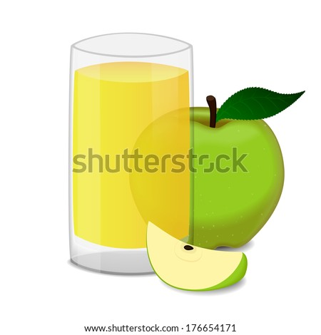 glass of apple juice and green apples isolated on white. Raster version  - stock photo