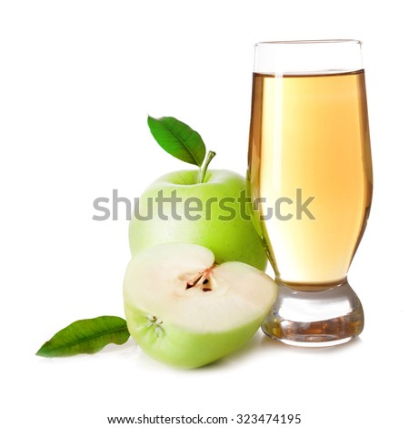 Glass of apple juice isolated on white - stock photo