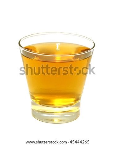 glass of apple juice isolated on white background - stock photo