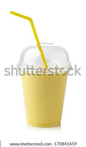 Glass of banana smoothie isolated on white background - stock photo