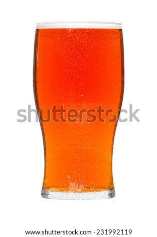 Glass of beer a popular alcoholic drink served in bars and a favourite refreshment at celebrations in the summer. - stock photo