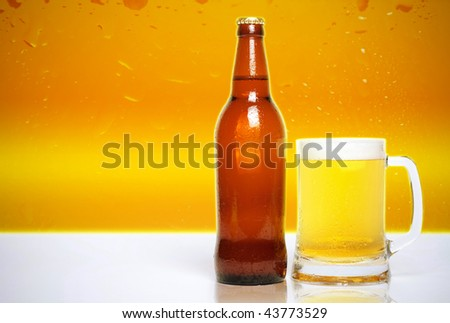 glass of beer and bottle