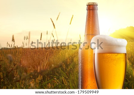 Glass of beer and bottle against wheat field and sunset - stock photo