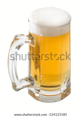 Glass of beer. Clipping path.