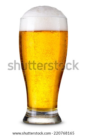 Glass of beer isolated. Clipping Path - stock photo