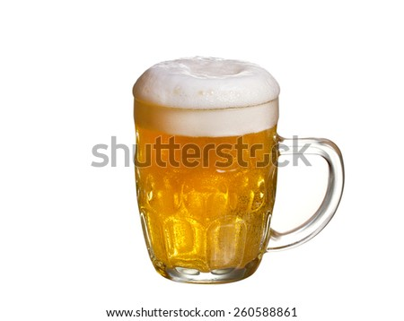 Glass of beer isolated on a white background - stock photo